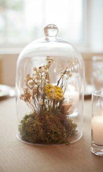 Blue Lotus Bell Jar Wedding Centerpiece