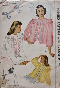 Bed Jackets are such practical and pretty garments. We should bring them back, along with dressing gowns and house dresses! 1940s Embroidered Bed Jacket McCalls 1335 by BluetreeSewingStudio, $14.00