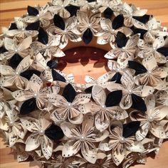 Origami Paper Flower Wreath / Chrismas decorations, origami wreath, paper flower wreath, kusudama, paper wreath, paper flowers, paper bouquet
