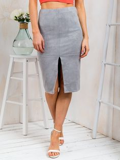 f46b0211255d78 Choies Women's Suede Gray Split Front Pencil Skirt Casual Office Skirt 8 at Amazon  Women's Clothing store: