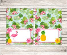 Flamingo Food Labels instant download Pineapple Tent cards