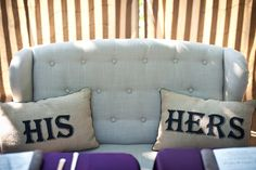 Seating for the bride and groom during the reception. HIs and Hers pillows complete the cozy couch while they enjoy their first meal. #Peltzerwineryandfarm, #peltzerwedding, #temeculawedding