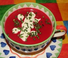 Beetroot and apple soup recipe. British recipes from Cookipedia. I love beetroot, so long as it isn't pickled in vinegar Spanish Vegetables, Rye Bread Recipes, Beetroot Recipes, Apple Soup, Soup For The Soul, Recipe For Success, Natural Yogurt, Winter Soups, Garlic Recipes