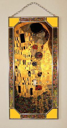 "Gustav Klimt, Kiss. 270 x 130 mm (10,5"" x 5"") Glass-pasteboard window-pane with copy from artwork by Gustav Klimt"
