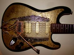 Customized Guitar named Nomad Rockets Game, Steampunk Guitar, Guitar Lessons, Musical Instruments, Castles, Pilot, Dioramas, Learning Guitar, Worship