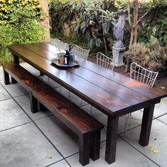15 Best Rustic Outdoor Design Ideas - Patio Table - Ideas of Patio Table - Rustic Outdoor Tables Rustic Patio Furniture Rustic Outdoor Furniture, Diy Outdoor Table, Rustic Patio, Outdoor Chairs, Farmhouse Furniture, Wooden Furniture, Outdoor Farmhouse Table, Cozy Patio, Steel Furniture