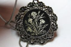 Vintage Necklace. Silver Metal Medallion with by ilovevintagestuff
