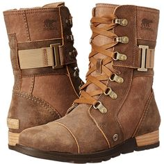 SOREL Major Carly Women's Cold Weather Boots ($150) ❤ liked on Polyvore featuring shoes, boots, ankle boots, short leather boots, military boots, leather boots, sorel boots and side zip boots