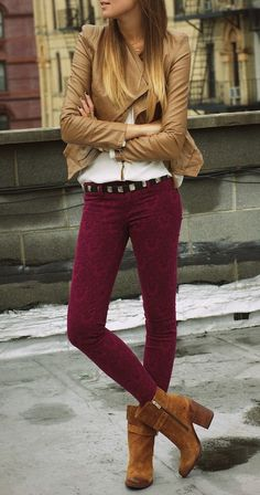 maroon jeans + camel leather jacket