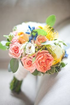 pretty color combination of soft pinks, yellow and blue