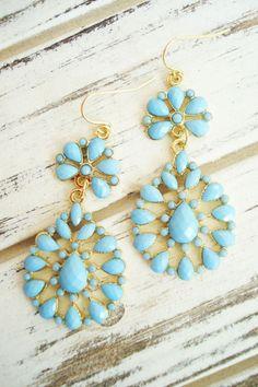 perfectly dainty aqua drop earrings