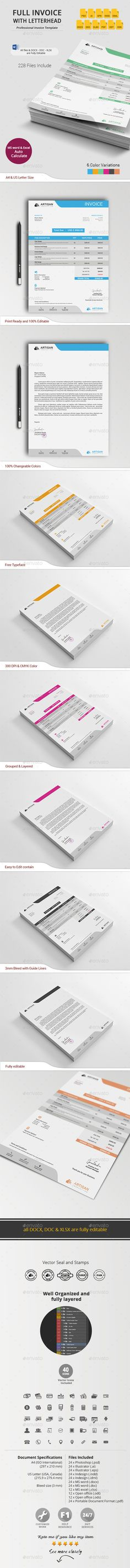 #Invoice with #Letterhead - #Proposals & Invoices #Stationery Download here: https://graphicriver.net/item/invoice-with-letterhead/11005806?ref=alena994