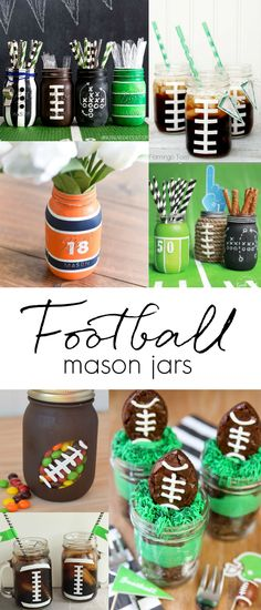 Football party mason jar ideas. Sports theme party ideas with mason jars. Football painted mason jar crafts. Kids party with football mason jars. Super Bowl party ideas.