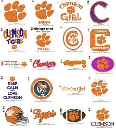 Clemson Tigers Embroidery Collection by CheapEmbroidery on Etsy, $5.00