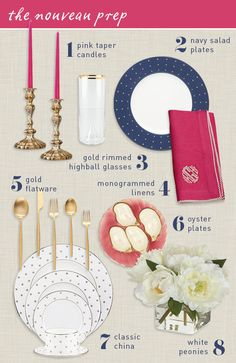 I literally can't decide which piece I want the most.  Preppy Table Setting | Camille Styles