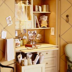 A desk built into an armoire allows you to create a crafts area anywhere--and hide it when you want. A large bin on casters rolls out when you use the desk, but stashes bulky items back inside when the door is closed. Transform the back of the unit and the doors into bulletin boards with decorative fabric and ribbon./