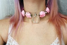 Clear Spike Light Pink Rose Choker. This listing is for a pre-order meaning that these collars are not premade. At this point, it is a 2 to 3 week wait