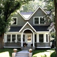 Love this gray & white exterior paint job for a house.