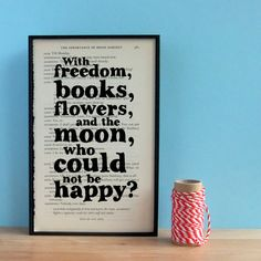 Oscar Wilde Inspirational Quote Book Page Art, freedom, books, flowers and the moon