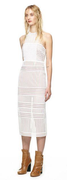 Striped Mesh Column Dress in White. Self Portrait.