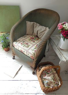Seasonal fabrics; 1930's Lloyd Loom arm chair from Lavender House Vintage