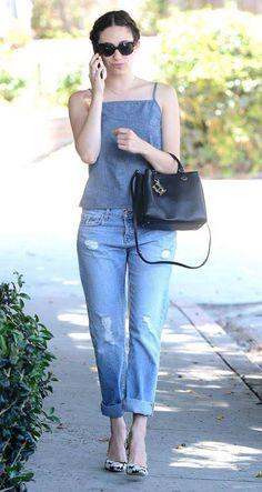 Emmy Rossum in her J BRAND 9025 Sonny Boyfriend Jean in Blissful.