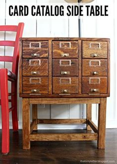 card catalog repurposed into side table, repurposing upcycling