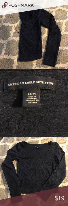 American Eagle Crop Top Lacey, navy blue American Eagle crop top. Never worn, as I'm not big into the crop top feel! Plenty of life left and perfect for summer! Make an offer! American Eagle Outfitters Tops Crop Tops