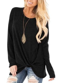 US Womens Loose Long Sleeve T Shirt Tops Blouse Oversized Tee Plus Size Pullover Shirt Bluse, Tunic Shirt, Tunic Tops, Tee Shirts, Long Sleeve Tunic, Long Sleeve Tops, Long Sleeve Shirts, Blouse En Coton, Plus Size Pullover