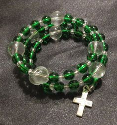 Green and Clear Glass Bead Bracelet with by ThreePinkPumpkins, $20.00