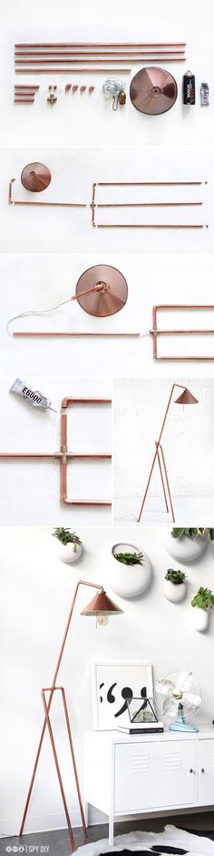 DIY Copper Pipe Floor Lamp / DIY Copper Lamp to add a little modern beauty to your home! Copper Floor Lamp, Diy Floor Lamp, Diy Luz, I Spy Diy, Creation Deco, Ideias Diy, Diy Flooring, Decoration, Diy Furniture