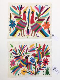 Otomi Mexican Embroidered Textile, Hand-embroidery on Ivory Cotton by MorrisseyFabric on Etsy