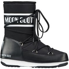 Moon Boot W.E. Sport Mid Winter Boots, Black ($130) ❤ liked on Polyvore featuring shoes, boots, ankle booties, flat ankle boots, black flat boots, ankle boots, black bootie and black ankle boots