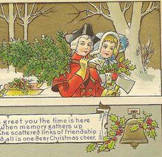 Colonial Christmas Scene on Vintage Postcard  Henderson LItho - Brining in the Tree by TheOldBarnDoor,