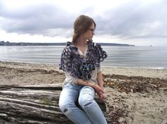 Calming Waters Shawl Shrug in hand painted by Valerie Baber Designs - IntricateKnits, $150.00