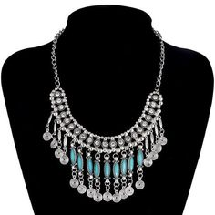 Antique silver plated tassel necklace