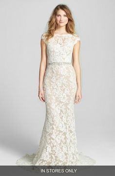 Reem Acra Embroidered Waist Lace Column Gown (In Stores Only) available at #Nordstrom