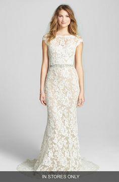 Reem Acra Embroidered Waist Lace Column Gown #weddingdress #wedding #weddingdresses
