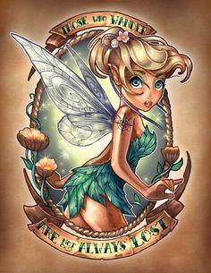 Tinkerbell - Peter Pan | 8 Disney Princesses As Fierce Vintage Tattooed Pin-Ups