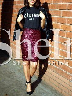 Falda cintura alta lentejuelas -borgoña 14.54