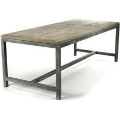 Abner Industrial Modern Rustic Bleached Oak Grey Dining Table ($2,868) ❤ liked on Polyvore featuring home, furniture, tables, dining tables, table, home decor, handcrafted furniture, grey furniture, gray kitchen table and handmade furniture