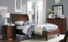 Princeton Queen Bed with Storage Drawers Cherry | Master Bedroom | Raleigh Furniture | Home Comfort Furniture