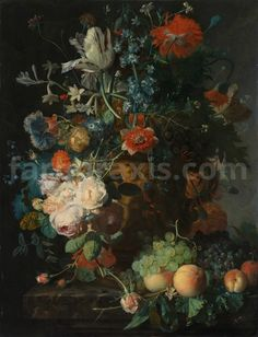 "Jan van Huysum : ""Still Life with Flowers and Fruit"" - Giclee Fine Art Print Google Art Project, Dutch Still Life, Different Types Of Flowers, Still Life Flowers, Big Flowers, Dutch Painters, Old Paintings, European Paintings, Flower Wallpaper"