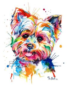 Colorful, Yorkshire Terrier Art Print - Print of my original Yorkie watercolor painting - * Watermark (best day of the week logo) does not appear on your print! Is Yorkie your favorite? Watercolor Animals, Watercolor Paintings, Painting Art, Painting Tattoo, Tableau Pop Art, Top Dog Breeds, Yorkshire Terrier Puppies, Terrier Dogs, Lap Dogs