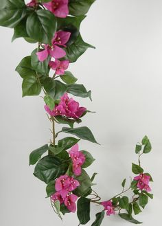 """Bougainvillea Garland, 6 ft., fuchsia flowers (three 1.5"""" wide flowers per bunch; 14 bunches per garland), green leaves, brown vine, loops on end for hanging; center vine is wired.  $9.99 each or 3/$8.99 each ($26.97).  Would be pretty w/1 wrapped around each hanging chain on swing and 3rd by fountain or elsewhere."""