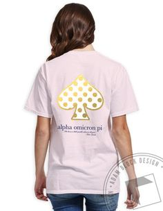 Alpha Omicron Pi - Gold Foil Spade V-Neck (Light Pink) by ABD BlockBuy! Available until 10/28, $19-$23Adam Block Design | Custom Greek Apparel & Sorority Clothes |www.adamblockdesign.com
