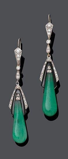 A PAIR OF ART DECO WHITE GOLD, JADEITE ONYX DIAMOND EAR PENDANTS, CIRCA 1935. Each set with a pear-shaped jadeite, onyx and diamonds. Length 7 cm. #ArtDeco #earrings