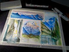 #watercolors #ecoline #acquerelli #landscapes #nature