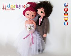 PATTERN++Bride+and+Groom+crochet+amigurumi+by+HavvaDesigns+on+Etsy