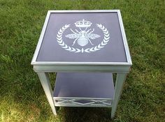 "Hand Painted and Stenciled End Accent Table Un""Bee""Liveably Gorgeous 